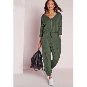 🌟HP🌟NWOT Missguided Jersey Zip Khaki Jumpsuit